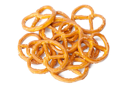 pretzel: glazed and salted pretzels isolated on white background Stock Photo