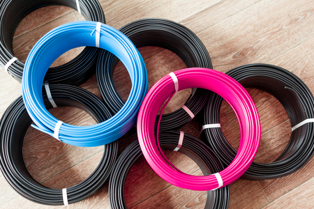 set colored electric cable Stock Photo