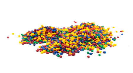 tinted plastic granulate for injection moulding process Stock Photo