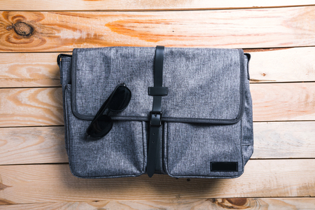 bag on wood background. Stock Photo