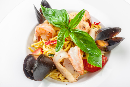 yummy italian pasta with seafood