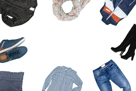 09f42c6ca9 Colección de ropa masculina aislados en blanco Foto de archivo - 85926174