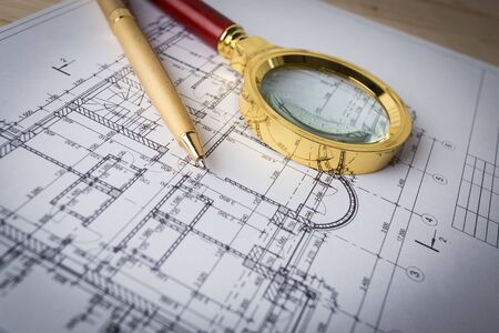 house plans & magnifying glass