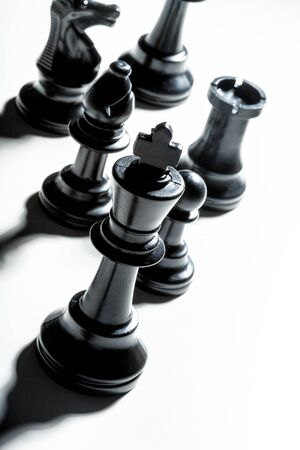 Chess game or chess pieces on white background