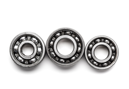 Gear metal wheels, isolated on white background Stock Photo