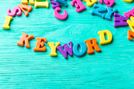 jumbled: Multiple colored letters Stock Photo