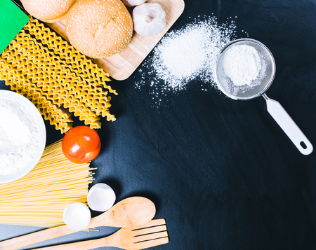 traditional culture: dry pasta spaghetti with ingredient Stock Photo