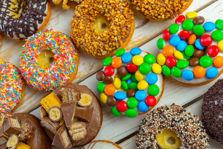 Donut. Sweet icing sugar food. Dessert colorful snack. Stock Photo