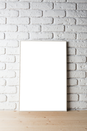 business card template: blank black picture frame on the wall Stock Photo