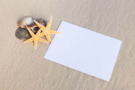 sheet: holiday beach concept with shells, seastars and an blank postcard