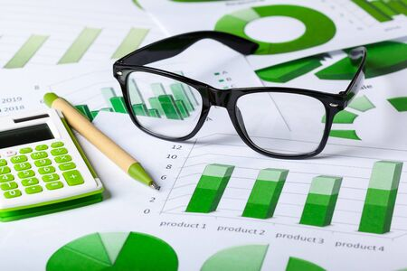 cash: Business Charts Green Stock Photo