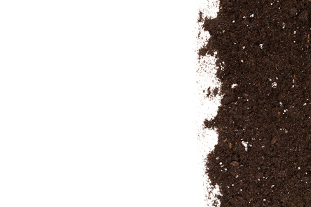 heap: Soil or dirt section isolated on white background