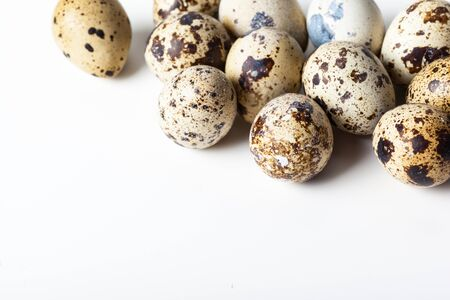 Quail eggs are isolated on a white background Stock Photo