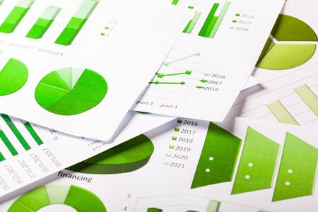 cash: Business Charts in Green color