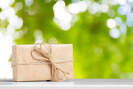 gift box on white table.