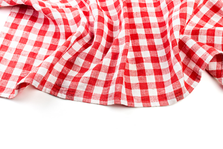red folded tablecloth isolated on white Stock Photo