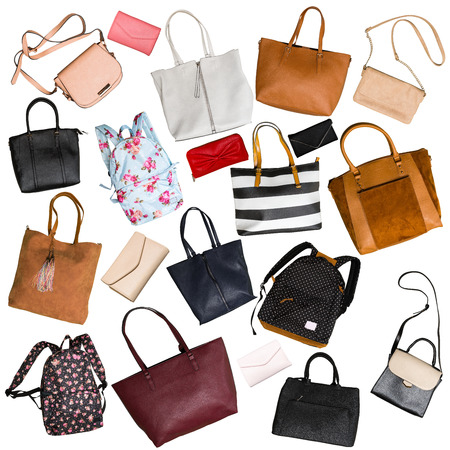 Collage of womens bags isolated on white