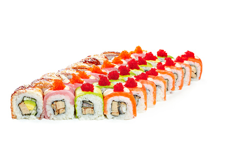 Sushi pieces collection, on a white background
