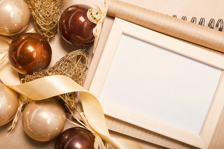 decorate: Greeting card  mock up with christmas ornaments