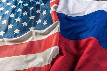 Usa flag and Russia flag Stock Photo