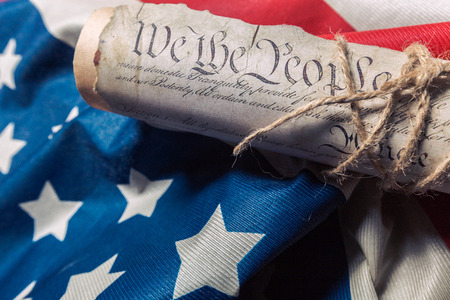 United States Declaration of Independence on a Betsy Ross flag