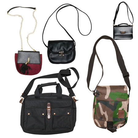 female handbags collection isolated on white background Stock Photo