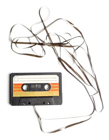 storage: vintage cassette tape isolated white background Stock Photo