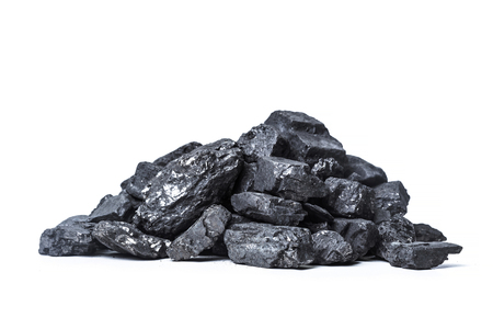 Natural wood charcoal Isolated on white Stock Photo