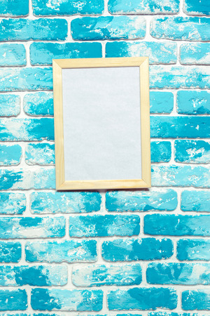 Picture frame on brick wall Stock Photo