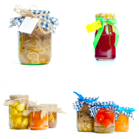 various preserved food isolated on white background