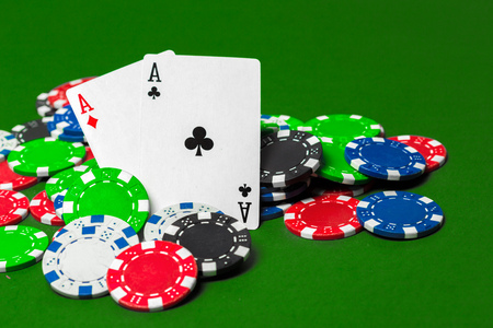 poker chips on the table Stock Photo