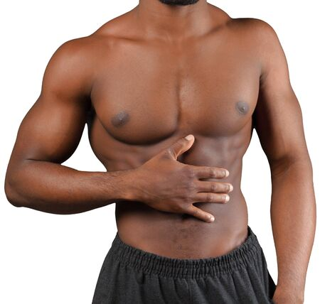 Torso of musculous african man isolated on white Stock Photo