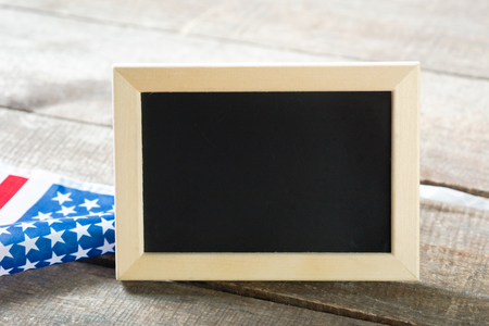 Blank chalk board with American Flag