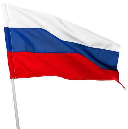 Russia flag waving on white background Фото со стока