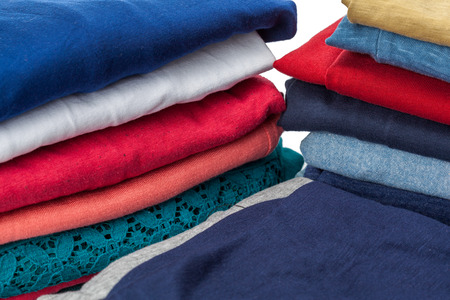 Stacks of clothes Stock Photo