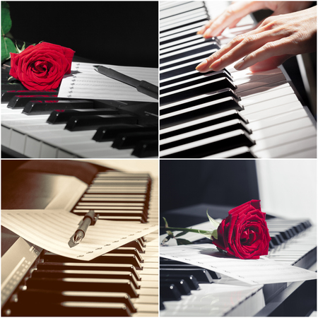 Piano keyboard close up. collage.