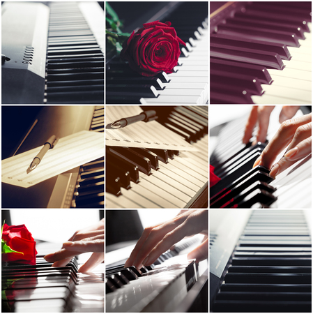 chorale: Piano keyboard close up. collage.
