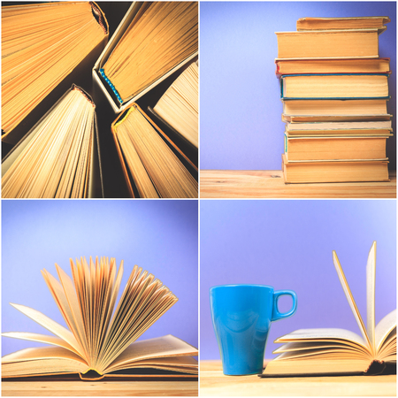 books on wooden deck table Stock Photo
