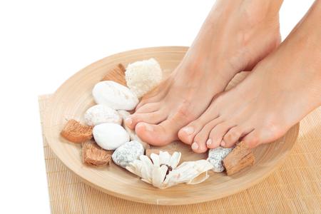 Beautiful female feet at spa salon Stock Photo