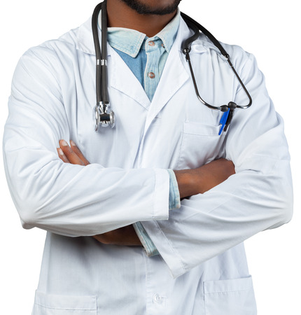 African Medical doctor man isolated on white background Stock Photo