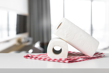 Soft paper towels on a white desk front view 版權商用圖片 - 94357385