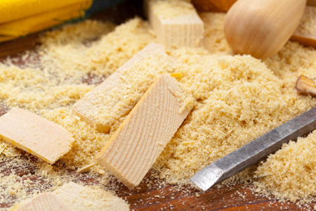 blade of sharp chisels with sawdust Stock Photo