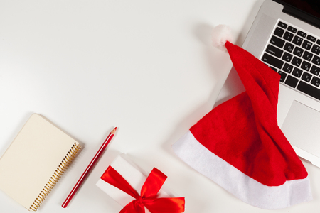 Flat lay Christmas decoration Office workplace Stock Photo