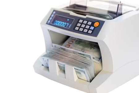 money counter isolated on white Stock Photo