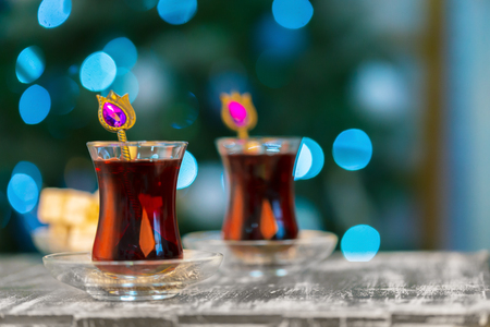 Christmas hot  tea, and light bokeh