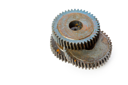 Old Rusty Gears isolated on white