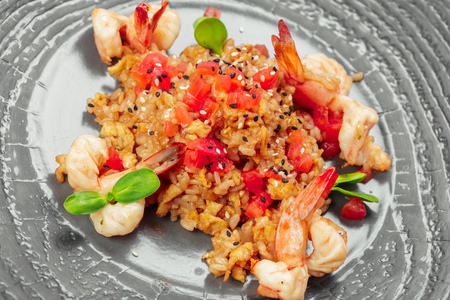 rice with shrimps. risotto