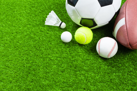 Various sport tools on grass Stock Photo