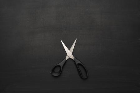 scissors on black background