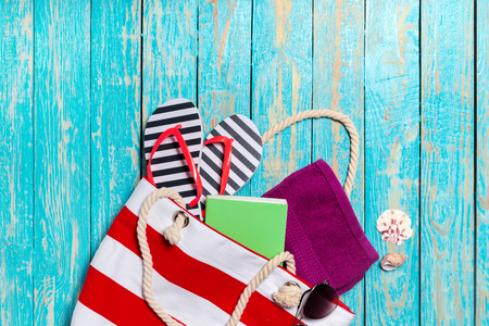 Summer holiday background with beach items Stock Photo